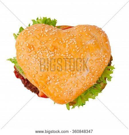 Heart Shape Burger Cheeseburger Hamburger, Love Burger Fast Food Concept, Isolated On White Backgrou