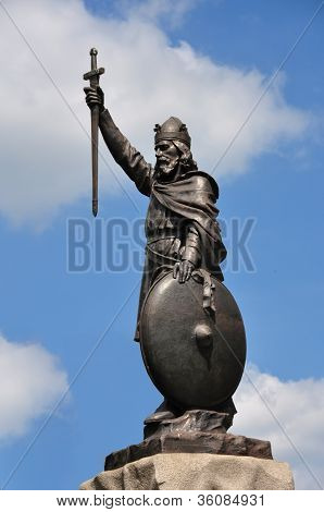 King Alfred The Great Statue At Winchester, England.