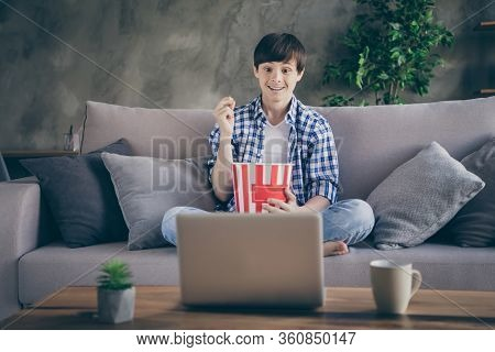 Photo Of Teen School Boy Sitting Comfy Couch Stay Home Quarantine Time Watch Notebook Movie Online S