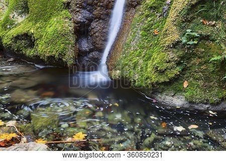 Beautiful Susara Waterfall In Autumn Season, Anina Mountains, Romania