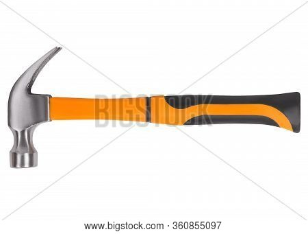 Claw Hammer With Orange Rubber Handle Isolated On White Background
