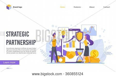 Perspective Strategic Partnership Flat Design Vector Illustration Landing Page Template. Discuss Agr