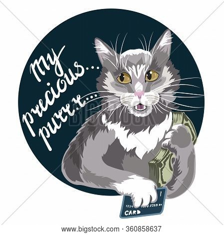Business Cat With Money In His Hands. Businessman Animal Character The Concept Of Financial Success.