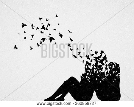 Silhouette Of Lovers And Flying Birds. Conceptual Vector Illustration About Death And Rebirth. Sad M