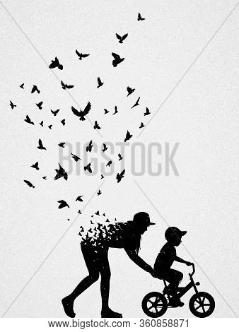 Silhouette Of Mother With Child On Bicycle. Conceptual Vector Illustration About Death And Rebirth.