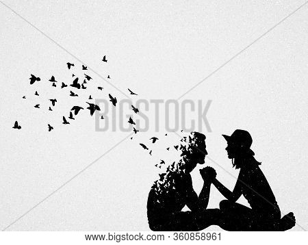 Silhouette Of Lovers And Flying Birds. Conceptual Vector Illustration About Loss Of Loved One, Lonel