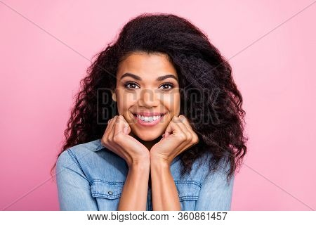 Close Up Photo Of Charming Cute Girlish Afro American Girl Have Rest Relax Feel About Grateful About