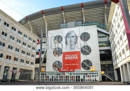 Amsterdam, Netherlands - April 27, 2019: Exterior Of The Johan Cruijff Arena From The Zuid H Entranc