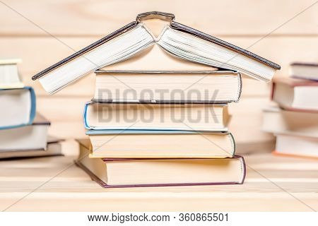 Read Books Slogan. Stack Of Books Remaining House. Stay At Home Concept. Quarantine, Basic Rules. Co