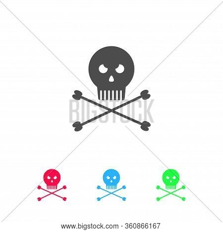 Jolly Roger Icon Flat. Color Pictogram On White Background. Vector Illustration Symbol And Bonus Ico