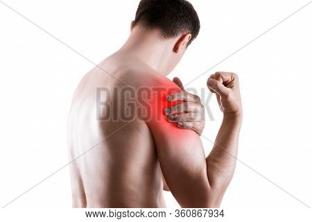 Shoulder Pain, Ache In A Man's Body, Sports Injury Concept, Isolated On White Background