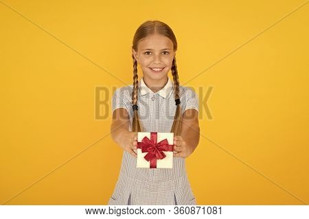 Happy Birthday. Knowledge Day. Schoolgirl Giving Gift To You. Tidy Adorable Pupil Open Gift Box. Edu