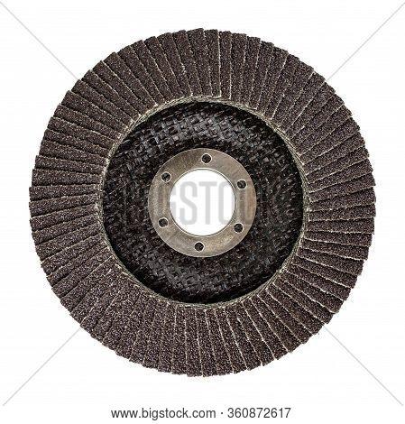 Wood Abrasive Flat Flap Disc For Angle Grinder Mashine. Isolated On White Background Without Shadows