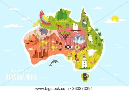 Illustrated Map Of Australia With Symbols And Animals. Bright Design Fot Tourist Posters, Banners, L
