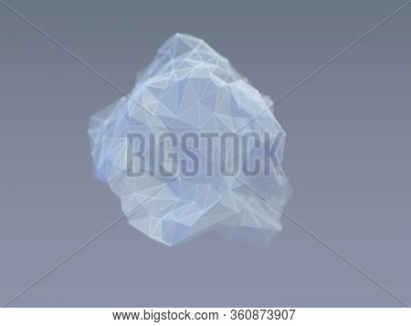 3d Wireframe Stone On Gray Background. Concept Of Geology And Modern Technologies: Computer Model Of
