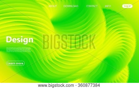 Green Background. Website Landing Page. 3d Fluid Poster. Gradient Abstract Banner. Vibrant Color. Fl