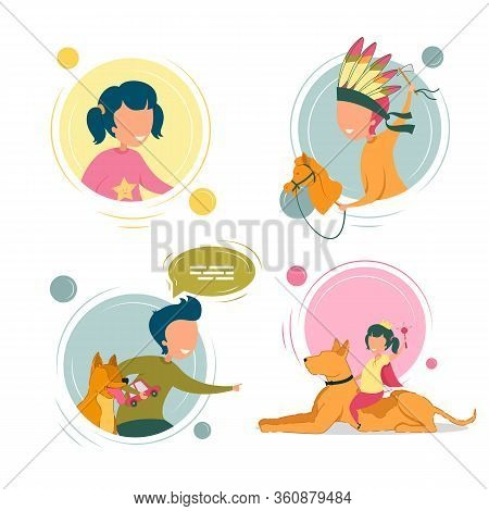 Children Character Playing With Pet. Boy Dressed As Indian With Toy Horse Having Fun. Kid With Dog C