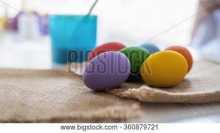 Preparing For Painting Eggs For Eastertime At Home. Happy Easter Day.
