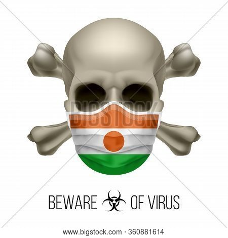 Human Skull With Crossbones And Surgical Mask In The Color Of National Flag Niger. Mask In Form Of T