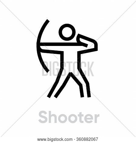 Shooter Personal Targeting Icon. Editable Line Vector.