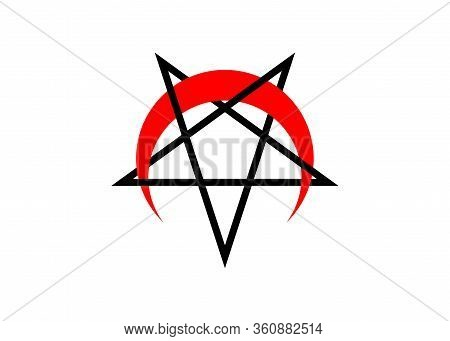 Reversed Or Inverted Pentagram With Upside Down Crescent Red Moon Vector Symbol Isolated. Satanic In