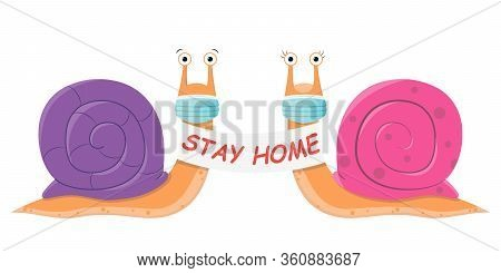 Snail Stay At Home. Cute Cartoon Purple And Pink Snail With A Poster And A Medical Mask Against The