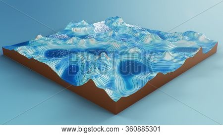 Cross Section Topographic 3d Map With Water. Contour Lines On A Topographic Map. Studying The Geogra