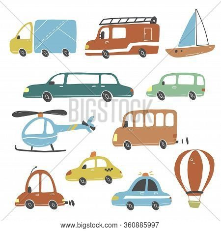 Set Of Cartoon Cute Kids And Toy Style Cars And Other Transport, Truck, Taxi, Police Car, Fire Truck