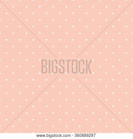Polka Dot Seamless Pattern On Peach Background. Great For Scrapbooking Textile, Craft, Invitations.