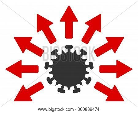 Vector Virus Distribution Flat Icon. Vector Pictogram Style Is A Flat Symbol Virus Distribution Icon