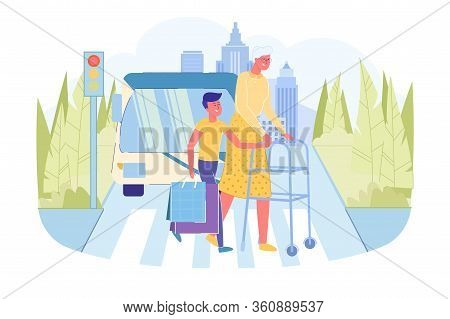 Teenager Boy Helps Old Retired Grandmother With Walker Cross Road. Teen Carrying Grannies Bags Suppo