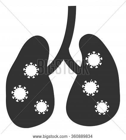 Vector Viral Pneumonia Flat Icon. Vector Pictogram Style Is A Flat Symbol Viral Pneumonia Icon On A