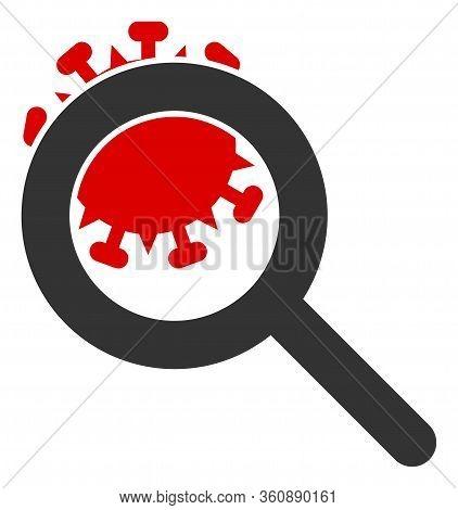 Vector Explore Coronavirus Flat Icon. Vector Pictograph Style Is A Flat Symbol Explore Coronavirus I