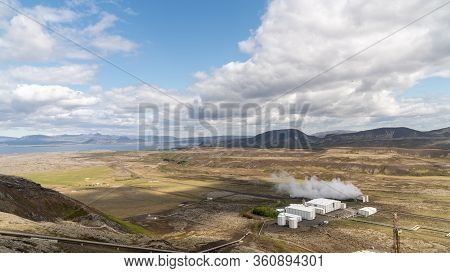 Nesjavellir Geothermal Facilities In Iceland. Geothermal Area With Boiling Mudpools And Steaming Fum