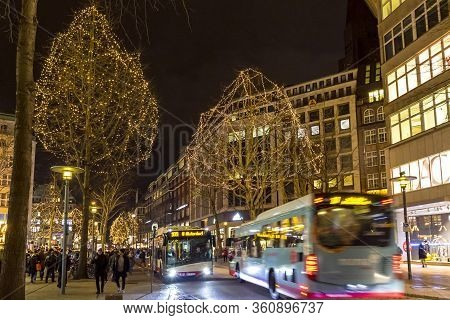 Hamburg, Germany - December 14, 2018: Night View Of Monckebergstrasse (also Called Mo), One Of The M