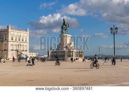 Lisbon, Portugal -  November 7, 2019: Praça Do Comercio Or Commerce Square Also Known As Terreiro Do