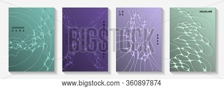 Biotechnology And Neuroscience Vector Covers With Neuron Cells Structure. Overlapping Curve Lines Fl