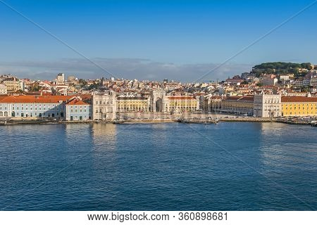 Lisbon, Portugal -  November 7, 2019: Northern Bank Of The Tagus River And The Oldest Neighborhood A