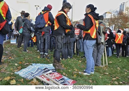 Toronto, Ontario, Canada - 11/05/2009 :  Used Placards In The Peace Demonstration At The Legislative