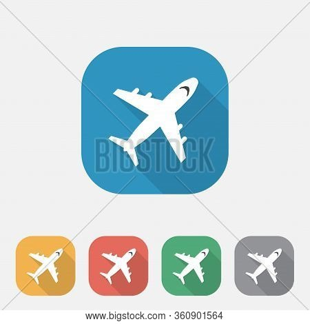 Plane Flat Icon Vector Airport Sign, Transportation Icon, Airplane Flat Icon With Long Shadow,ui, Ux