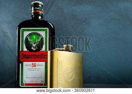 Mykolaiv, Ukraine- April 05, 2020: Jagermeister Bottle With Flask Standing On Surface On Frozen Back