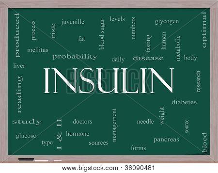 Insulin Word Cloud Concept On A Blackboard