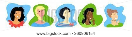 Vector Flat Illustration With Set Of Women S Faces. Everyone Has Different Emotions, Namely Joy, Bor