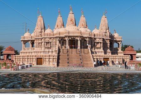 Chino Hills, California/usa - February 7, 2020: The Baps Shri Swaminarayan Mandir And Lotus-shaped F
