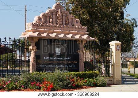 Chino Hills, California/usa - February 7, 2020: A Sign At The Entrance Gate Of The Baps Shri Swamina