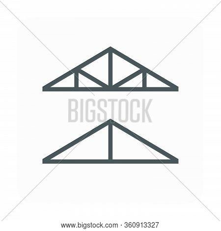 Roof Truss Vector Icon Design, Black Color.