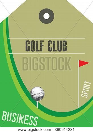 Golf Club Label With Accessories And A Stylized Field.
