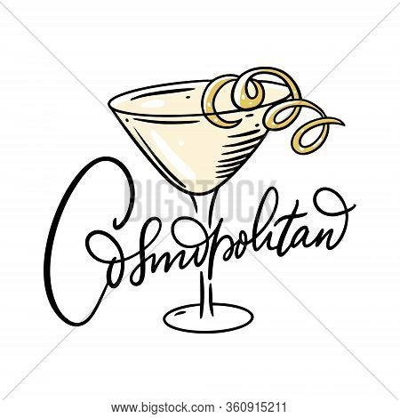 Cosmopolitan Yellow Cocktail. Flat Style. Colorful Cartoon Vector Illustration. Isolated On White Ba