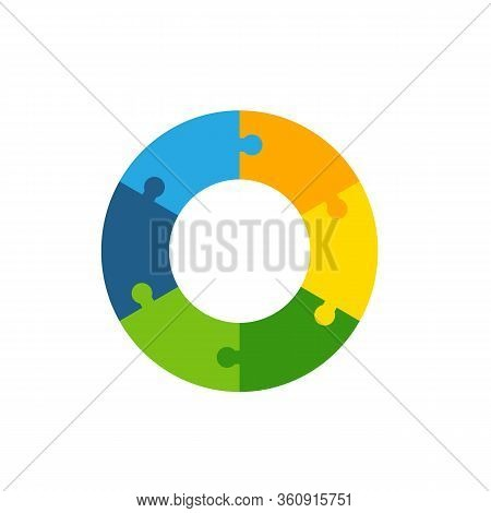 Multicolored Icon Of Abstract Circle Shape With Six Puzzle Elements