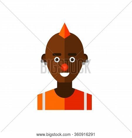 Multicolored Icon Of Male African American Freak Character With Mohawk Hairdo, Red Nose And Piercing